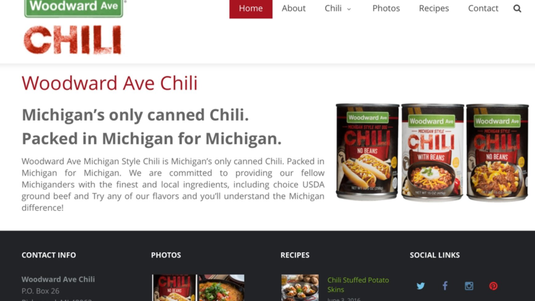Woodward Ave Chili – Food Packaging Website